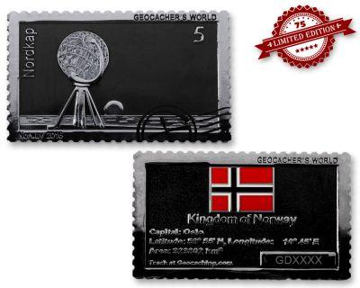 Geocacher's World Geocoin -NORWAY- Black Nickel / Silber XLE 75
