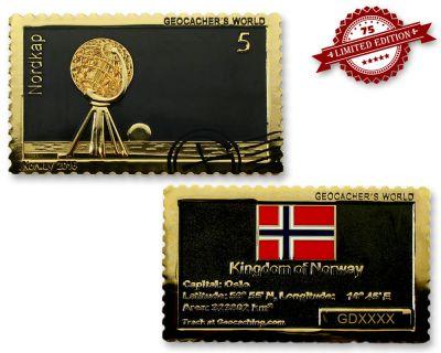 Geocachers World - Norway- Geocoin Black Nickel / Gold
