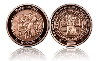 Teutonic Knights Geocoin Antik Silber