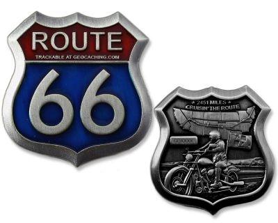 Route 66 Geocoin Antik Silber RE