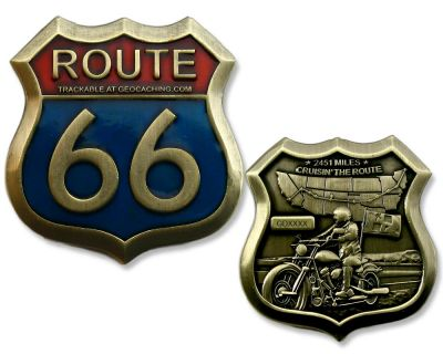 Route 66 Geocoin Antik Gold RE