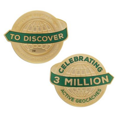 3 Million Geocaches Geocoin - Gold XL (ca. 70 mm Durchmesser)