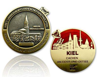 Kiel Geocoin Antik Gold - ROT