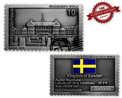 Geocacher's World Geocoin -SWEDEN- Antik Silber LE 100