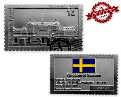 Geocacher's World Geocoin -SWEDEN- Satin Silber XLE 75