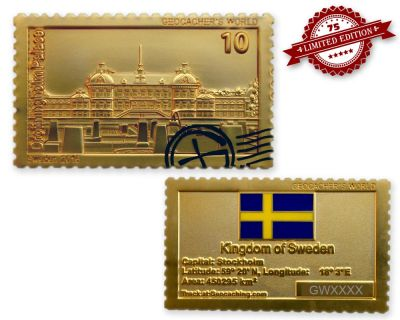 Geocacher's World Geocoin -SWEDEN- Satin Gold XLE 75