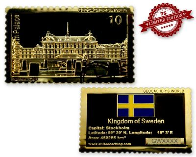 Geocacher's World Geocoin -SWEDEN- Black Nickel / Gold XLE 75