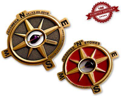 Stashes 'n' Stones MEGA EVENT Geocoin Antik Gold LE 100 (echter Amethyst!)