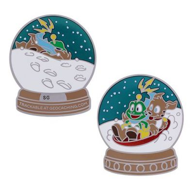 Signal the Frog® Snow Globe Geocoin - Silber
