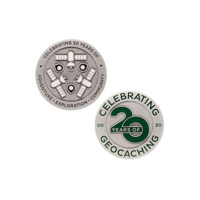 20 Jahre Geocaching - Geocoin + Travel Tag SET (2 Trackables)