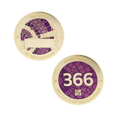 Challenges Geocoin + Tag Set (2 Trackables) - 366 Days of Geocaching
