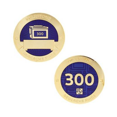 Milestone Geocoin + Tag Set (2 Trackables) - 300 Finds
