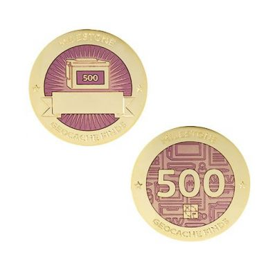 Milestone Geocoin + Tag Set (2 Trackables) - 500 Finds