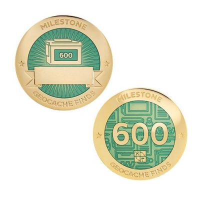 Milestone Geocoin + Tag Set (2 Trackables) - 600 Finds