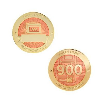 Milestone Geocoin + Tag Set (2 Trackables) - 900 Finds