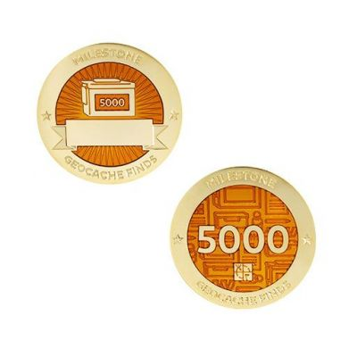 Milestone Geocoin + Tag Set (2 Trackables) - 5.000 Finds