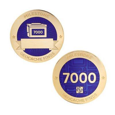 Milestone Geocoin + Tag Set (2 Trackables) - 7.000 Finds