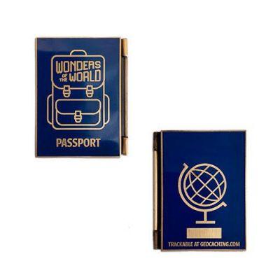 Weltwunder Passport Geocoin + Tag Set (2 Trackables)