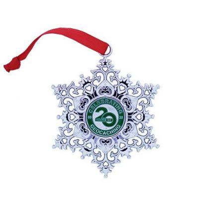 Snowflake Ornament Geocoin - 20 Jahre Geocaching