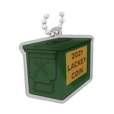 2021 Lackey Coin + Tag Set - Antik Silber (XXL 3D Coin aufklappbar)