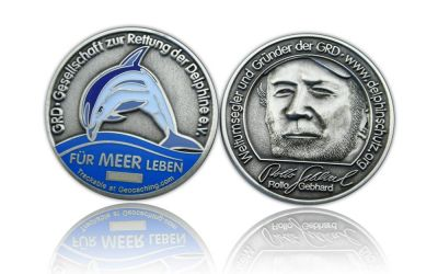 Save the Dolphins Geocoin Antik Silber (CHARITY)