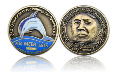 Save the Dolphins Geocoin Antik Gold (CHARITY)