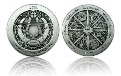 Wheel of the Year 2008 Geocoin Antik Silber