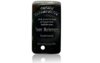 Cacher Thermometer Geocoin -MIT GRAVUR- Black Nickel