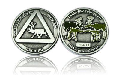 Reindeer Geocoin Antik Silber