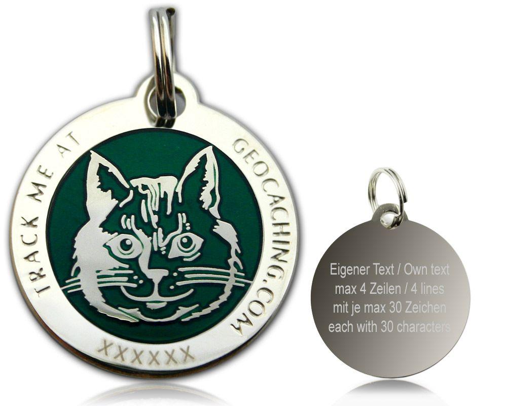 Cachers Cat Geocoin Poliertes Silber Grun Geocoinshop De