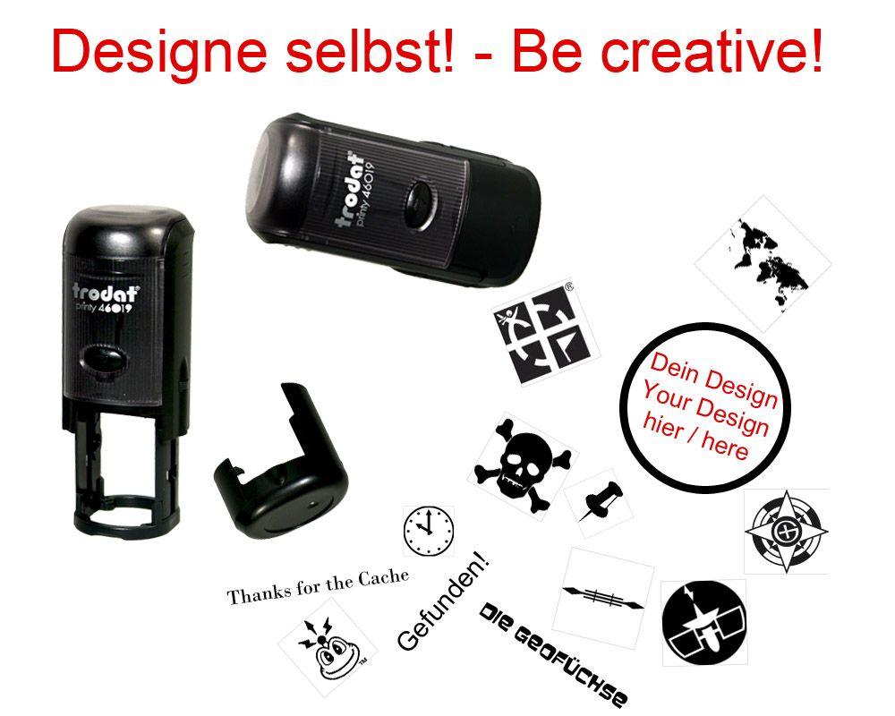 geocaching stempel printy rund mit deinem design geocaching shop. Black Bedroom Furniture Sets. Home Design Ideas