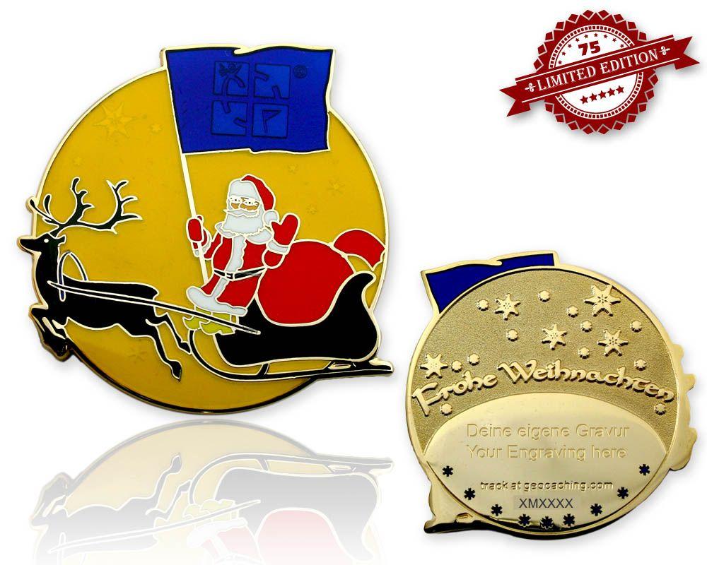Frohe Weihnachten Weihnachtsmann Geocoin Light XLE - Geocoinshop.de ...