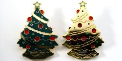 Christmas Tree Geocoin Polished Gold