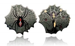 Black Widow Geocoin Poliertes Silber