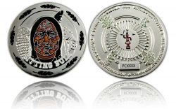 Sitting Bull Geocoin Poliertes Silber