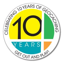 10 Years! of Geocaching Aufkleber (Groundspeak)