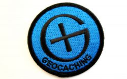Runder Geocaching Patch BLAU