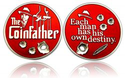 The Coinfather Geocoin (Bloody Red) Antik Silber Rot