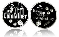 The Coinfather Geocoin (Mafia Black) Antik Silber Schwarz