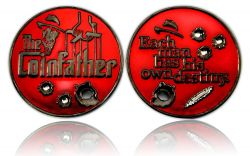 The Coinfather Geocoin (Bloody Black) Black Nickel Rot