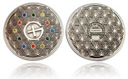 The Colors of Geocaching Geocoin Antik Silber (Blume des Lebens)
