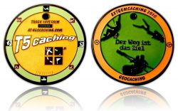 Extremcaching Geocoin 2010 Black Nickel ORANGE