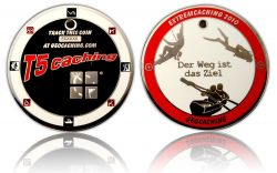 Extremcaching Geocoin 2010 Polished Silver RED