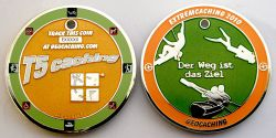Extremcaching Geocoin 2010 Poliertes Silber ORANGE LE