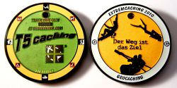 Extremcaching Geocoin 2010 Black Nickel GREEN LE