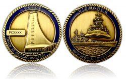 Bismarck Geocoin Antik Gold