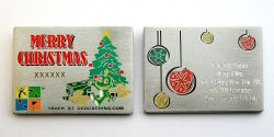Christmas Card Geocoin with  ENGRAVING -Antique Silver-