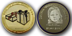 The Birthday Geocoin with individual Photograph (Polished Gold)