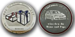 The Birthday Geocoin with individual Photograph (Polished Silver