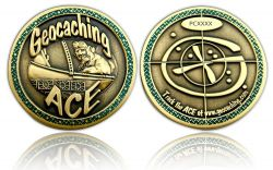 Geocaching Ace Geocoin Antique Gold